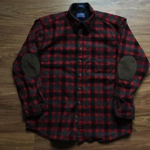 Red black and gray Pendleton wool flannel